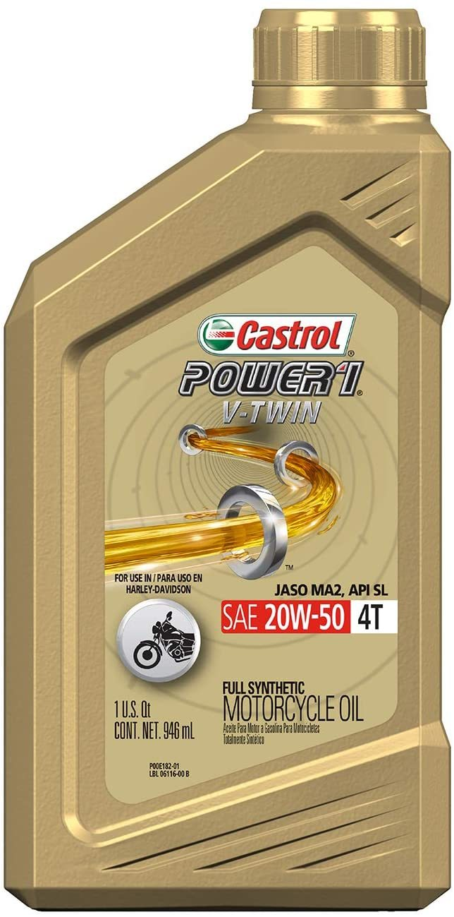 Castrol 06116 POWER1 V-TWIN 4T 20W-50 Synthetic Motorcycle Oil