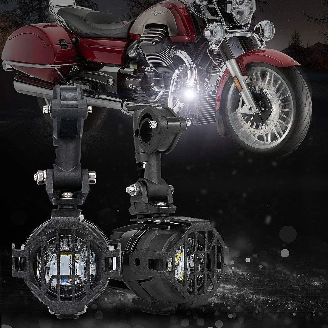 Motorcycle LED Auxiliary Lights Spot Driving Fog Light DRL