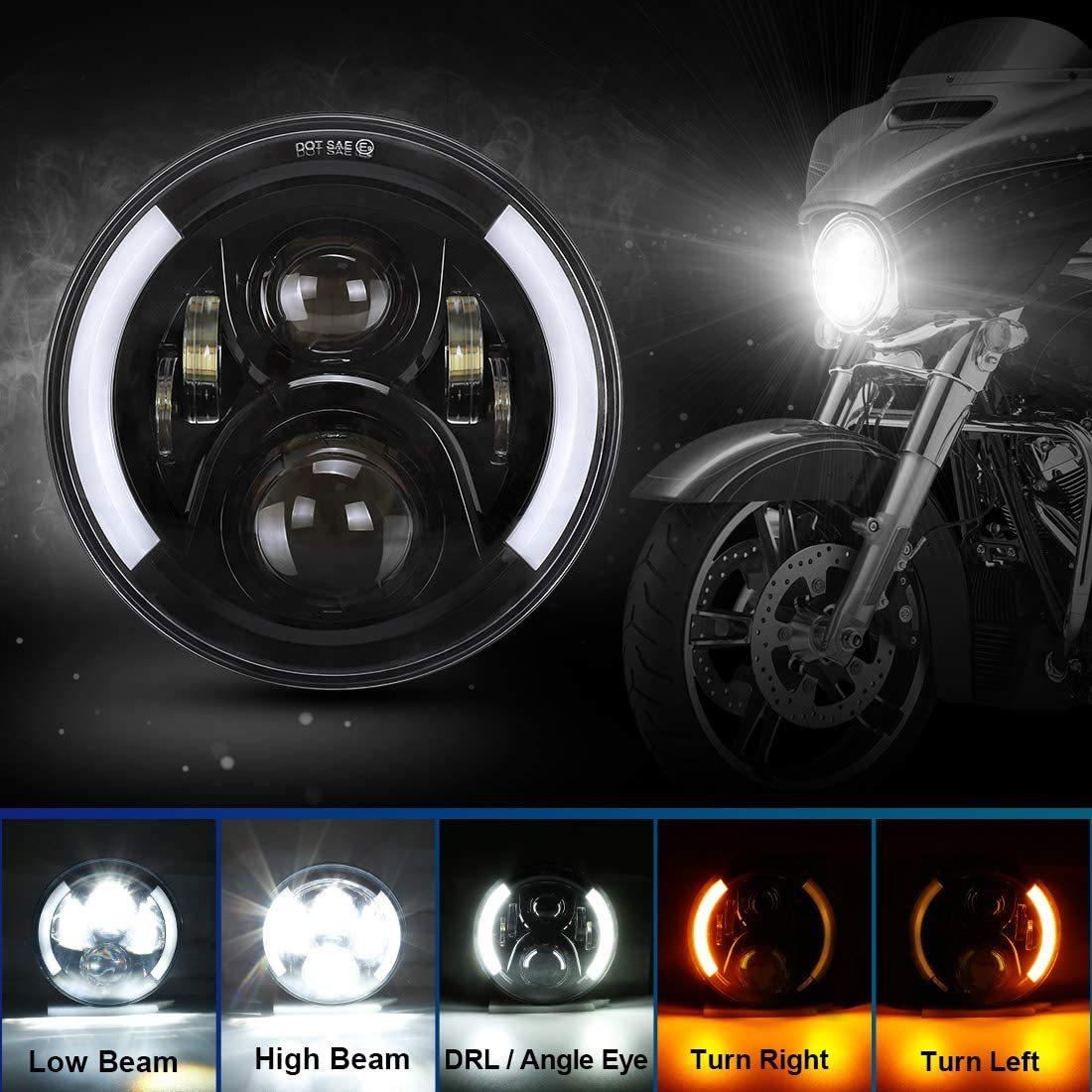 SUPAREE 7 inches LED Motorcycle Headlight