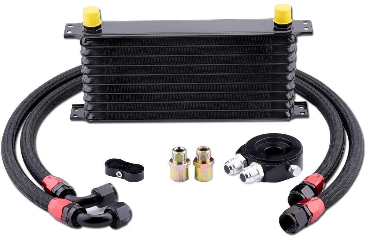 EVIL-ENERGY-10-Row-AN10-10AN-Oil-Cooler-Kit-Universal-Engine-Transmission-Aluminium-Alloy